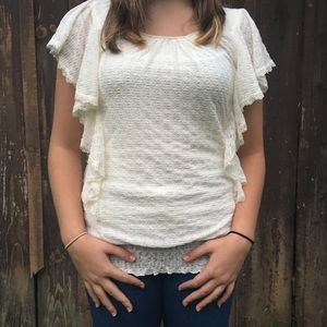 MAURICES White Lace Top - Size S (EUC)